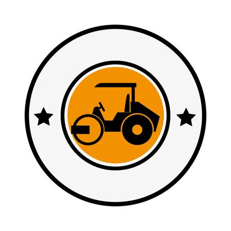 Emblème circulaire avec illustration vectorielle de route rouleau Banque d'images - 71771577