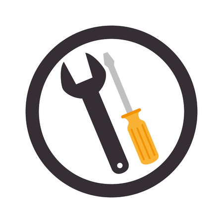 circular emblem with wrench and screwdriver vector illustration