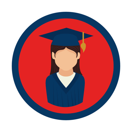 color circular emblem with woman with graduation outfit vector illustration