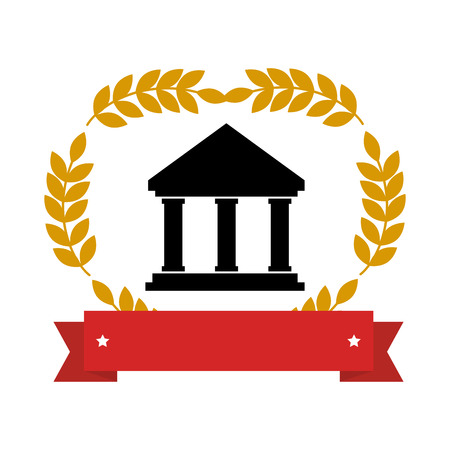emblem with parthenon with olive branchs and ribbon vector illustration