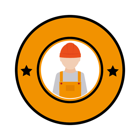 obrero: color circular emblem with worker with helmet vector illustration