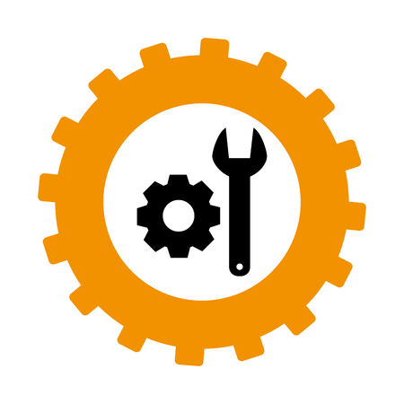 silhouette in shape of gear with wrench and pinion vector illustration
