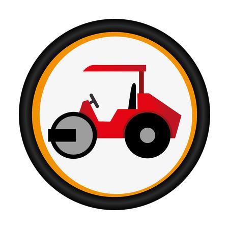 Emblème circulaire coloré avec illustration vectorielle de route rouleau Banque d'images - 71771511