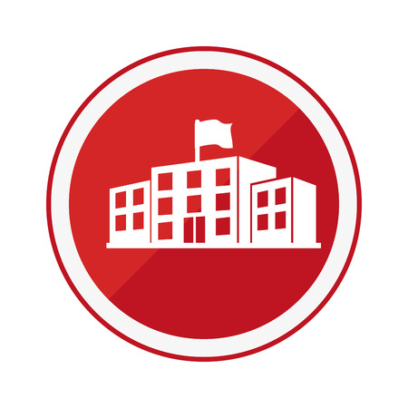 monochrome circular emblem with high school structure vector illustration 일러스트