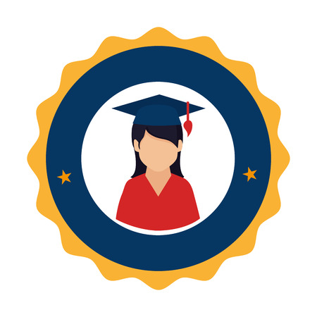 colorful circular emblem with woman with graduation hat vector illustration Illustration