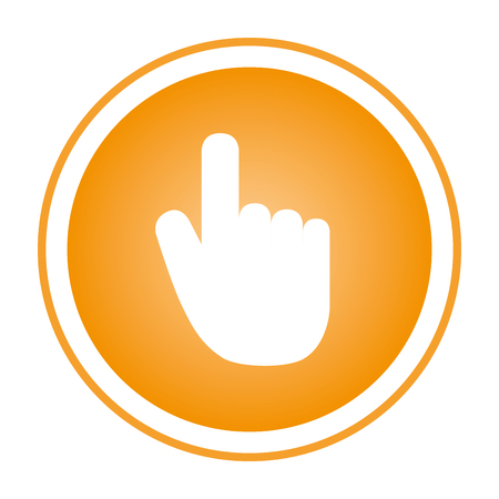 color circular emblem with hand cursor vector illustration