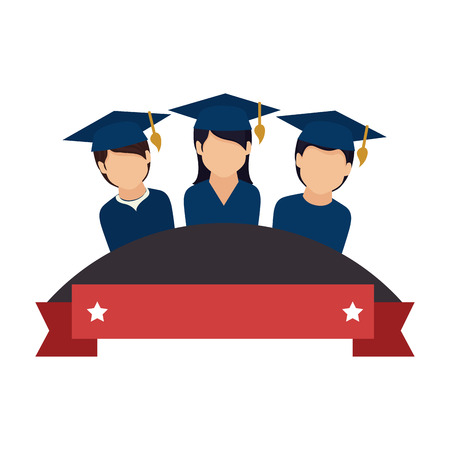 colorful emblem with ribbon and students graduates vector illustration