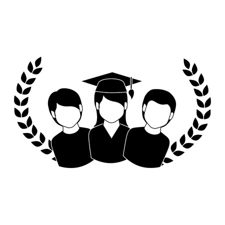 crown leaves with group people graduated vector illustration