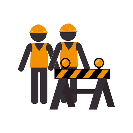 silhouette road construction and workers group vector illustration Illustration