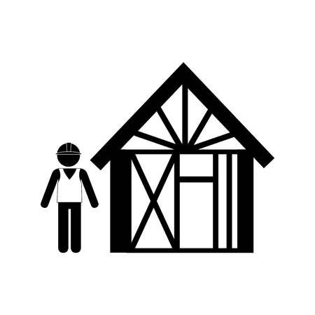 bricklaying: silhouette man buiding wooden house vector illustration