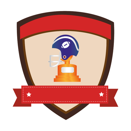 shield emblem with side view american football helmet and Trophy Cup with plate vector illustration