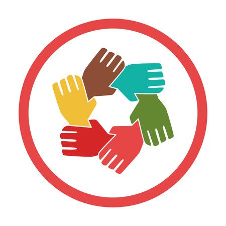cadre coloré circulaire avec les mains silhouette travail d'équipe illustration vectorielle