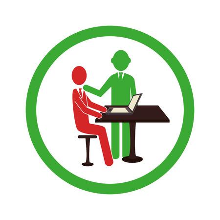 circular border worker with boss in office vector illustration Illustration