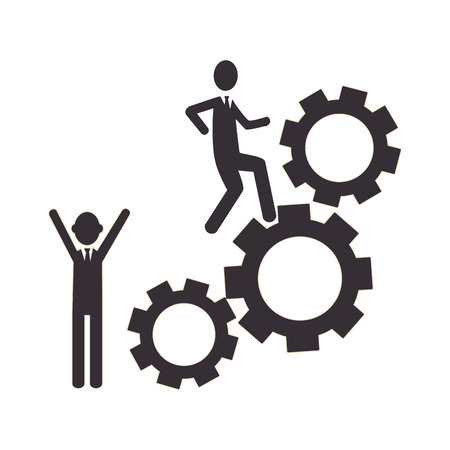 silhouette gear wheel icon and men figure vector illustration Illustration