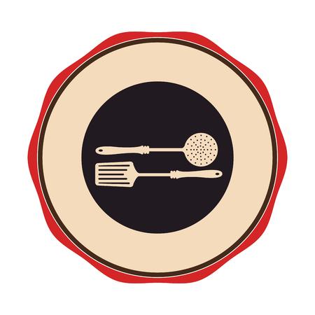 Kreis Emblem mit Frittieren Löffel Vektor-Abbildung