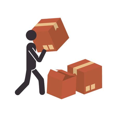 silueta con paquete y pictograma persona dispatcher ilustración vectorial Ilustración de vector