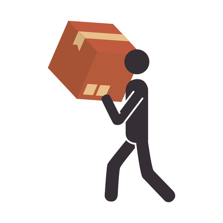 silhouette pictogram person carrying a box vector illustration