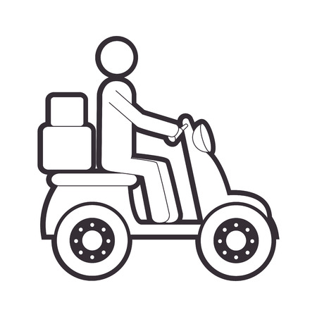 silhouette motorcycle messenger with packages vector illustration