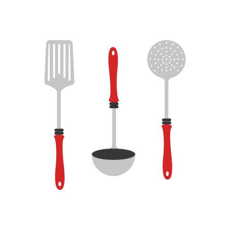 colorful silhouette utensils kitchen icon design vector illustration Illustration