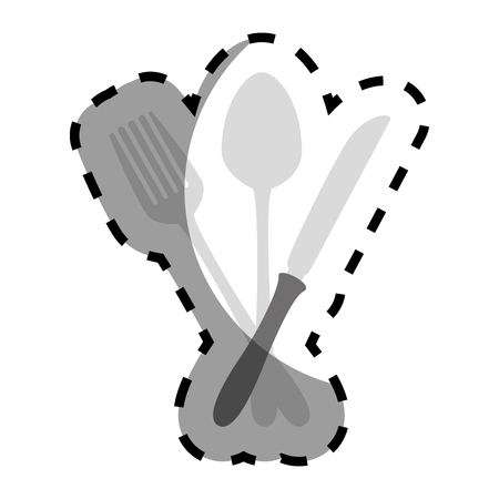 grayscale silhouette sticker with cutlery vector illustration