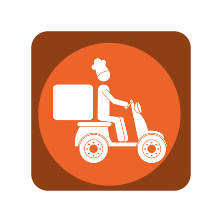 square emblem with delivery man in scooter vector illustration