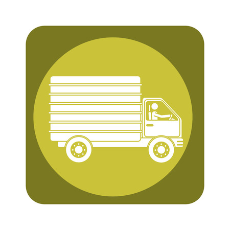 square emblem of truck with wagon vector illustration