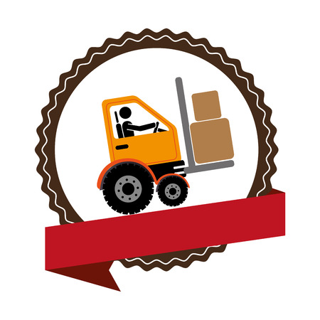 fork lifts trucks: circular emblem with ribbon and forklift truck with forks vector illustration