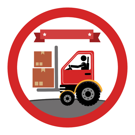 fork lifts trucks: circular emblem with forklift truck with forksand ribbon on top vector illustration