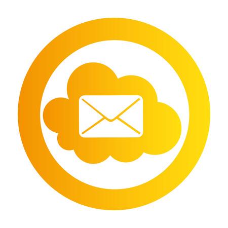 color circular emblem with mail cloud service vector illustration Illustration