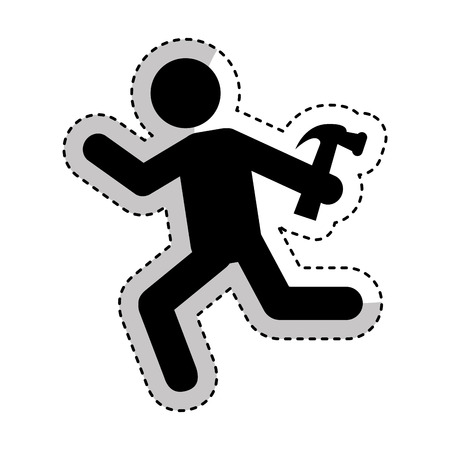 arquitecto caricatura: Construction professional avatar silhouette vector illustration design