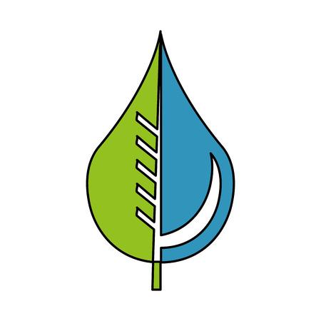 pure water drop with leaf emblem vector illustration design Illustration