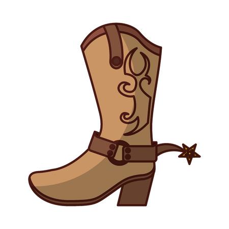 cowboy boot shoe icon vector illustration design