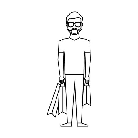 happy shopper: young man with shopping bag vector illustration design