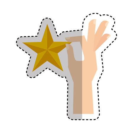 hand human with star vector illustration design