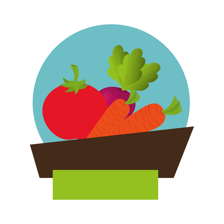 fresh vegetable product seal vector illustration design