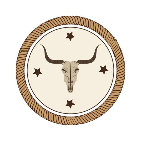 牛の頭蓋骨の野生の西のアイコン ベクトル イラスト デザイン  イラスト・ベクター素材