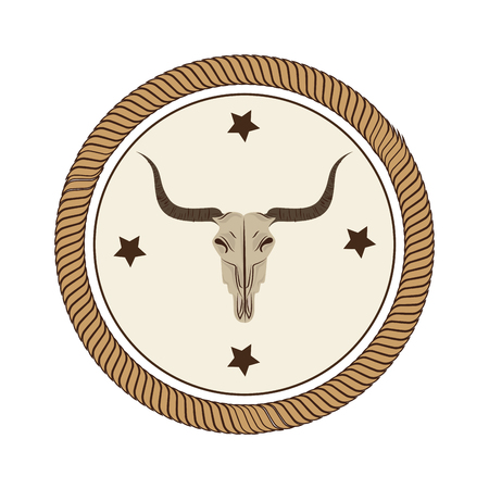 bull skull wild west icon vector illustration design