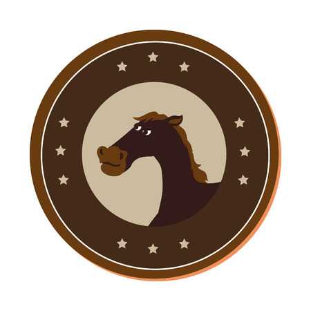 horse character wild west icon vector illustration design