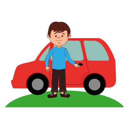 young man avatar with car character vector illustration design Vectores