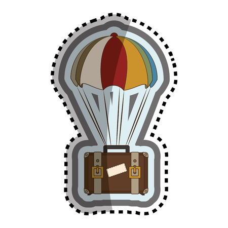 suitcase travel with parachute isolated icon vector illustration design Illustration