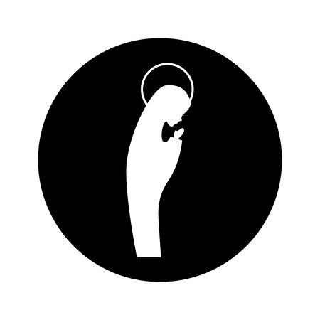 manger mary maagd figuur silhouet pictogram vector illustratie ontwerp