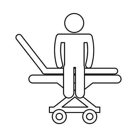 paciente en camilla: médico ensanchador con paciente aislados icono diseño ilustración vectorial
