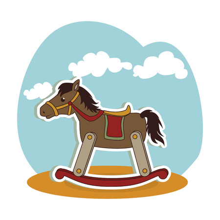 horse wooden baby toy icon vector illustration design Illustration