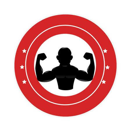bodybuilder silhouette isolated icon vector illustration design Illustration