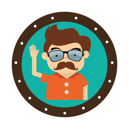 gentleman character hipster style vector illustration design Illustration