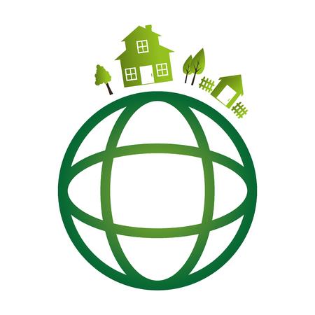 green buildings: green city ecology buildings vector illustration design Illustration