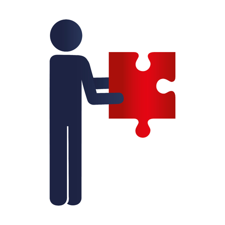 puzzle business: person with puzzle game pieces isolated icon vector illustration design