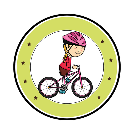cute little girl character in bicycle vector illustration design Illustration
