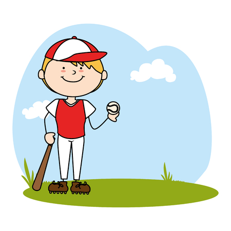 cute boy avatar character playing baseball vector illustration design