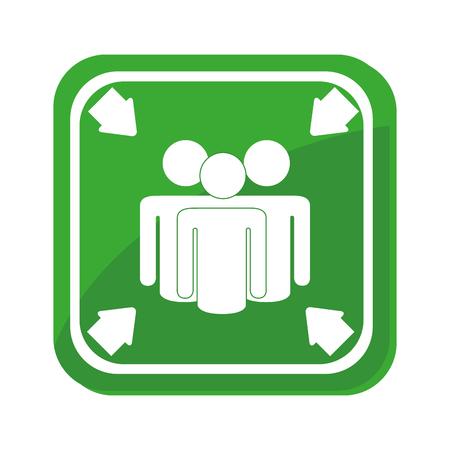 evacuacion: Punto de encuentro muestra de la ilustración del vector del icono del diseño